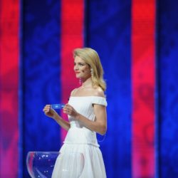 (150725) -- ST.PETERSBURG, July 25, 2015 (Xinhua) --Presenter Natalia Vodianova announces the Asian group during the preliminary draw for the 2018 FIFA World Cup at Konstantin Palace in St. Petersburg, Russia July 25, 2015. (Xinhua/Dai Tianfang)