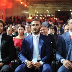 (150725) -- ST.PETERSBURG, July 25, 2015 (Xinhua) -- (From L to R)Uruguay's soccer player Diego Forlan, Italian coach Fabio Cannavaro and former soccer player Ronaldo of Brazil attend the preliminary draw for the 2018 FIFA World Cup at Konstantin Palace in St. Petersburg, Russia July 25, 2015. (Xinhua/Dai Tianfang)