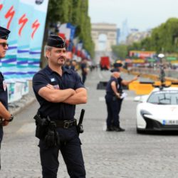 Police on the Champs-Elysees in Paris, France where the final stage of the Tour de France is due to finish later today. PRESS ASSOCIATION Photo. Picture date: Sunday July 26, 2015. See PA story CYCLING Tour. Photo credit should read: Mike Egerton/PA Wire