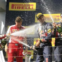 Winner Ferrari Formula One driver Sebastian Vettel of Germany splashes with champagne Ferrari Formula One team leader Maurizio Arrivabene, third placed Red Bull Formula One driver Daniel Ricciardo of Australia and second placed Red Bull Formula One driver Daniil Kvyat of Russia (L-R) after the Hungarian F1 Grand Prix at the Hungaroring circuit, near Budapest, Hungary July 26, 2015. REUTERS/Bernadett Szabo