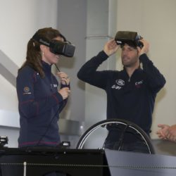 The Duchess of Cambridge with Sir Ben Ainslie on a simulator, visiting the Home of Land Rover BAR at the British team headquarters in Portsmouth, during a visit on the second day of the opening leg of the America's Cup World Series being staged in waters off Portsmouth. PRESS ASSOCIATION Photo. Picture date: Sunday July 26, 2015. See PA story ROYAL Kate. Photo credit should read: Ian Vogler/The Daily Mirror/PA Wire
