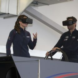The Duchess of Cambridge with Sir Ben Ainslie on a simulator, at the Home of Land Rover BAR at the British team headquarters in Portsmouth, during a visit on the second day of the opening leg of the America's Cup World Series being staged in waters off Portsmouth. PRESS ASSOCIATION Photo. Picture date: Sunday July 26, 2015. See PA story ROYAL Kate. Photo credit should read: Ian Vogler/The Daily Mirror/PA Wire