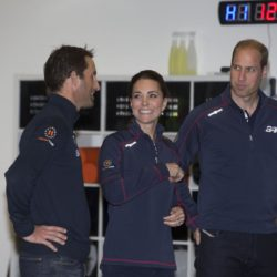 (left to right) Sir Ben Ainslie, the Duchess of Cambridge and the Duke of Cambridge at the Home of Land Rover BAR at the British team headquarters in Portsmouth, during a visit on the second day of the opening leg of the America's Cup World Series being staged in waters off Portsmouth. PRESS ASSOCIATION Photo. Picture date: Sunday July 26, 2015. See PA story ROYAL Kate. Photo credit should read: Ian Vogler/The Daily Mirror/PA Wire