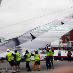 The Land Rover BAR racing boat is lifted from the water at BAR (Ben Ainslie Racing) headquarters in Portsmouth, Hampshire, on the second day of the opening leg of the America's Cup World Series being staged in waters off Portsmouth. PRESS ASSOCIATION Photo. Picture date: Sunday July 26, 2015. The Duchess, who is a keen sailor, joined Sir Ben in June last year when he formally launched Britain's bid to win the America's Cup for the first time. She is a committed supporter of the sailor's team BAR (Ben Ainslie Racing) and is also royal patron of the 1851 Trust, which works to inspire the next generation through sailing and the marine industry. See PA story ROYAL Kate. Photo credit should read: Steve Parsons/PA Wire