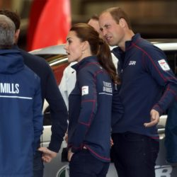 The Duke and Duchess of Cambridge meet staff and guests at BAR (Ben Ainslie Racing) headquarters in Portsmouth, Hampshire, as part of a visit on the second day of the opening leg of the America's Cup World Series being staged in waters off Portsmouth. PRESS ASSOCIATION Photo. Picture date: Sunday July 26, 2015. The Duchess, who is a keen sailor, joined Sir Ben in June last year when he formally launched Britain's bid to win the America's Cup for the first time. She is a committed supporter of the sailor's team BAR (Ben Ainslie Racing) and is also royal patron of the 1851 Trust, which works to inspire the next generation through sailing and the marine industry. See PA story ROYAL Kate. Photo credit should read: Steve Parsons/PA Wire