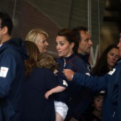 The Duchess of Cambridge meets staff and guests at BAR (Ben Ainslie Racing) headquarters in Portsmouth, Hampshire, as part of a visit on the second day of the opening leg of the America's Cup World Series being staged in waters off Portsmouth. PRESS ASSOCIATION Photo. Picture date: Sunday July 26, 2015. The Duchess, who is a keen sailor, joined Sir Ben in June last year when he formally launched Britain's bid to win the America's Cup for the first time. She is a committed supporter of the sailor's team BAR (Ben Ainslie Racing) and is also royal patron of the 1851 Trust, which works to inspire the next generation through sailing and the marine industry. See PA story ROYAL Kate. Photo credit should read: Steve Parsons/PA Wire