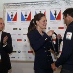 The Duke of Cambridge applauds as his wife the Duchess of Cambridge presents a medal to Ben Ainslie, skipper of Britain's Land Rover backed BAR (Ben Ainslie Racing)  team, at the close of the second day of the opening leg of the America's Cup World Series being staged in waters off Portsmouth. PRESS ASSOCIATION Photo. Picture date: Sunday July 26, 2015. See PA story ROYAL Kate. Photo credit should read: Luke MacGregor/PA Wire