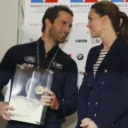 The Duchess of Cambridge presents the Portsmouth Victory Trophy to Ben Ainslie, skipper of Britain's Land Rover backed BAR (Ben Ainslie Racing)  team, at the close of the second day of the opening leg of the America's Cup World Series being staged in waters off Portsmouth. PRESS ASSOCIATION Photo. Picture date: Sunday July 26, 2015. See PA story ROYAL Kate. Photo credit should read: Luke MacGregor/PA Wire