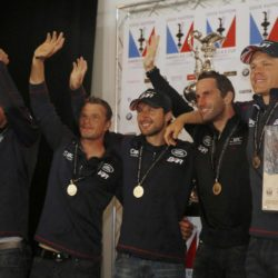 Ben Ainslie ( second right), skipper of Britain's Land Rover backed BAR (Ben Ainslie Racing) with his team as they celebrate winning the British leg of the America's Cup World Series being staged in waters off Portsmouth. PRESS ASSOCIATION Photo. Picture date: Sunday July 26, 2015. See PA story ROYAL Kate. Photo credit should read: Luke MacGregor/PA Wire
