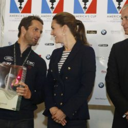 The Duke and Duchess of Cambridge stand with Ben Ainslie (left), skipper of Britain's Land Rover backed BAR (Ben Ainslie Racing) team, after the Duchess presented the Portsmouth Victory Trophy to him at the close of the second day of the opening leg of the America's Cup World Series being staged in waters off Portsmouth. PRESS ASSOCIATION Photo. Picture date: Sunday July 26, 2015. See PA story ROYAL Kate. Photo credit should read: Luke MacGregor/PA Wire