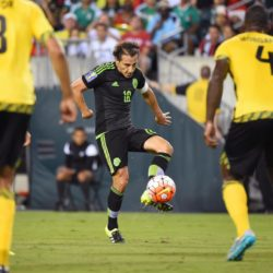 July 26, 2015: Mexico midfielder Andres Guardado #18 passes the ball during the 2015 CONCACAF Gold Cup final between Jamaica and Mexico at Lincoln Financial Field in Philadelphia, Pennsylvania. Mexico defeated Jamaica 3-1. Rich Barnes/CSM. Lapresse Only italyVittoria del Messico nella finale Concaf 2015