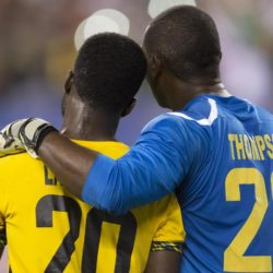 July 26, 2015: Jamaica goalkeeper Ryan Thompson (23) puts his arm around defender Kemar Lawrence (20) following the CONCACAF Gold Cup 2015 Final match between Jamaica and Mexico at Lincoln Financial Field in Philadelphia, Pennsylvania. Mexico won 3-1. Christopher Szagola/CSM. Lapresse Only italyVittoria del Messico nella finale Concaf 2015
