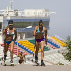 Athletes attend training session at the Ak Bulak Nordic Arena outside Almaty, Kazakhstan, July 16, 2015. Kazakhstan is aspiring to host the 2022 Winter Olympics but many in the Central Asian nation view the bid as yet another vanity project of long-ruling President Nursultan Nazarbayev. Almaty, the financial capital, will go head-to-head with the Chinese metropolis Beijing on Friday when the International Olympic Committee elects the winner at its session in Malaysia. Picture taken July 16, 2015. REUTERS/Shamil Zhumatov