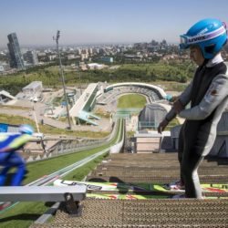Members of Kazakhstan's national team attend training session at the Sunkar Ski Jumping complex in Almaty, Kazakhstan, July 15, 2015. Kazakhstan is aspiring to host the 2022 Winter Olympics but many in the Central Asian nation view the bid as yet another vanity project of long-ruling President Nursultan Nazarbayev. Almaty, the financial capital, will go head-to-head with the Chinese metropolis Beijing on Friday when the International Olympic Committee elects the winner at its session in Malaysia. Picture taken July 15, 2015. REUTERS/Shamil Zhumatov