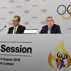 Mar Adams und Thomas Bach bei einer PK in Kuala Lumpur / 290715*** President of the International Olympic Committee (IOC) Thomas Bach (R) addresses a press conference in Kuala Lumpur, Malaysia, July 29, 2015. The 128th IOC executive board meeting will be held in Kuala Lumpur from July 31 to Aug. 3. *** Lapresse Only italyThomas Bach in conferenza stampa a Kuala Lumpur *** Local Caption *** 20313060