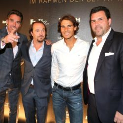 Michael Stich, Jens Pelikan, Rafael Nadal und Detlef Hammer bei der Players Night im Rahmen der Bet-at-home Open 2015 am Rothenbaum in Hamburg / 290715 *** Players' night at the bet-at-home Open in Hamburg, Germany, July 29, 2015 *** Lapresse Only italyPlayers Night all'ATP Open 2015 di Amburgo *** Local Caption *** 20317441
