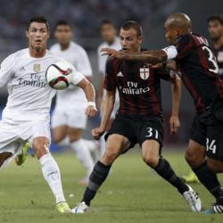 Cristiano Ronaldo (L) of Real Madrid fights for the ball with Antonelli Luca (C) and De Jong Nigel of A.C. Milan during the International Champions Cup soccer match in Shanghai, July 30, 2015. REUTERS/Aly Song