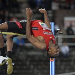 Jacorian Duffield of the U.S. clears the bar 2.32m during the men's high jump event at the IAAF Athletics Diamond League meeting at Stockholm Olympic Stadium, Sweden, July 30, 2015.  REUTERS/Marcus Ericsson/TT News AgencyATTENTION EDITORS - THIS IMAGE WAS PROVIDED BY A THIRD PARTY. THIS PICTURE IS DISTRIBUTED EXACTLY AS RECEIVED BY REUTERS, AS A SERVICE TO CLIENTS. FOR EDITORIAL USE ONLY. NOT FOR SALE FOR MARKETING OR ADVERTISING CAMPAIGNS. SWEDEN OUT. NO COMMERCIAL OR EDITORIAL SALES IN SWEDEN. NO COMMERCIAL SALES.