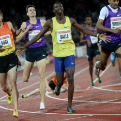 Musaeb Abdulrahman Balla (C) of Qatar reacts as he wins the men's 800m event ahead of Andreas Bube (L) of Denmark and Michael Rimmer (2nd R) of Britain at the IAAF Athletics Diamond League meeting at Stockholm Olympic Stadium, Sweden, July 30, 2015.  REUTERS/Fredrik Sandberg/TT News AgencyATTENTION EDITORS - THIS IMAGE WAS PROVIDED BY A THIRD PARTY. THIS PICTURE IS DISTRIBUTED EXACTLY AS RECEIVED BY REUTERS, AS A SERVICE TO CLIENTS. FOR EDITORIAL USE ONLY. NOT FOR SALE FOR MARKETING OR ADVERTISING CAMPAIGNS. SWEDEN OUT. NO COMMERCIAL OR EDITORIAL SALES IN SWEDEN. NO COMMERCIAL SALES.