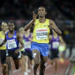 Ayanleh Souleiman of Djibouti reacts after winning the men's 1500m at the IAAF Athletics Diamond League meeting at Stockholm Olympic Stadium July 30, 2015.  REUTERS/Fredrik Sandberg/TT News AgencyATTENTION EDITORS - THIS IMAGE HAS BEEN SUPPLIED BY A THIRD PARTY. SWEDEN OUT. NO COMMERCIAL OR EDITORIAL SALES IN SWEDEN. NO COMMERCIAL SALES. THIS PICTURE IS DISTRIBUTED EXACTLY AS RECEIVED BY REUTERS, AS A SERVICE TO CLIENTS.