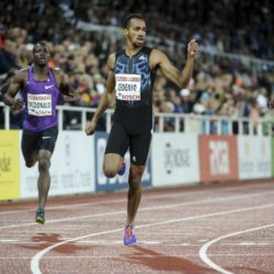 Machel Cedenio of Trinidad and Tobago wins the men's 400m event ahead of fifth placed Tony McQuay (L) of the U.S., sixth placed Rusheen McDonald (2nd L) of Jamaica and seventh placed Abdalleleh Haroun (R) of Qatar at the IAAF Athletics Diamond League meeting in the Stockholm Olympic Stadium, Sweden July 30, 2015. REUTERS/Fredrik Sandberg/TT News Agency   ATTENTION EDITORS - THIS IMAGE HAS BEEN SUPPLIED BY A THIRD PARTY. SWEDEN OUT. NO COMMERCIAL OR EDITORIAL SALES IN SWEDEN. NO COMMERCIAL SALES. THIS PICTURE IS DISTRIBUTED EXACTLY AS RECEIVED BY REUTERS, AS A SERVICE TO CLIENTS.