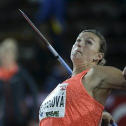 Barbora Spotakova of the Czech Republic competes to win the women's javelin throw event at the IAAF Athletics Diamond League meeting in the Stockholm Olympic Stadium, Sweden July 30, 2015. REUTERS/Fredrik Sandberg/TT News Agency  ATTENTION EDITORS - THIS IMAGE HAS BEEN SUPPLIED BY A THIRD PARTY. SWEDEN OUT. NO COMMERCIAL OR EDITORIAL SALES IN SWEDEN. NO COMMERCIAL SALES. THIS PICTURE IS DISTRIBUTED EXACTLY AS RECEIVED BY REUTERS, AS A SERVICE TO CLIENTS.