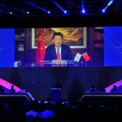 (150731) -- KUALA LUMPUR, July 31, 2015 (Xinhua) -- A video message shows Chinese President Xi Jinping addressing the Beijing's 2022 Olympic Winter Games bid presentation at the 128th International Olympic Committee (IOC) session in Kuala Lumpur, Malaysia, July 31, 2015. (Xinhua/Gong Lei) (mp)