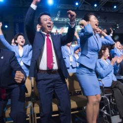 (150731) -- KUALA LUMPUR, July 31, 2015 (Xinhua) -- Memebers of Beijing 2022 Olympic Winter Games bid delegation celebrate after Beijing won the bid at the 128th International Olympic Committee session in Kuala Lumpur, Malaysia, Friday, July 31, 2015. (Xinhua/Lui Siu Wai)