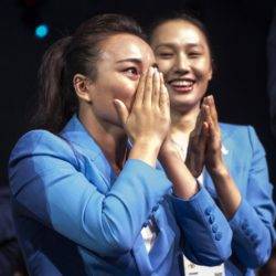 (150731) -- KUALA LUMPUR, July 31, 2015 (Xinhua) -- Li Nina, memeber of Beijing 2022 Olympic Winter Games bid delegation reacts after Beijing won the bid at the 128th International Olympic Committee session in Kuala Lumpur, Malaysia, Friday, July 31, 2015. (Xinhua/Lui Siu Wai)