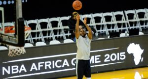 (150731) -- JOHANNESBURG, July 31, 2015 (Xinhua) -- Chris Paul of Team World shoots during practice at Ellis Park Arena, Johannesburg, South Africa, on July 31, 2015. The first NBA Africa Game, which features a Team Africa vs Team World, will take place at Ellis Park Arena, Johannesburg Sartuday. (Xinhua/Zhai Jianlan)