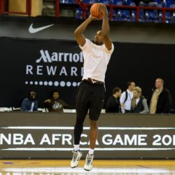 (150731) -- JOHANNESBURG, July 31, 2015 (Xinhua) -- Serge Ibaka of Team Africa shoots during practice at Ellis Park Arena, Johannesburg, South Africa, on July 31, 2015. The first NBA Africa Game, which features a Team Africa vs Team World, will take place at Ellis Park Arena, Johannesburg Sartuday. (Xinhua/Zhai Jianlan)