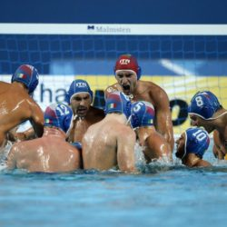 Foto Fabio Ferrari - LaPresse 31/07/2015 Kazan ( Russia )  Sport  16 Campionati del mondo FINA 2015 - Pallanuoto Uomini - Usa vs Italia   nella foto: prima della partita.  Photo Fabio Ferrari - LaPresse 31 July 2015 Kazan ( Russian )  Sport 16th FINA World Championship 2015 - Men's Water Polo - Usa vs Italia - Preliminary Round - Group B in the picture:before the match.