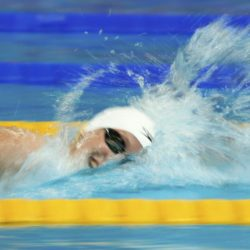 Katie Ledecky of the U.S. competes in the women's 400m freestyle heats at the Aquatics World Championships in Kazan, Russia, August 2, 2015.          REUTERS/Hannibal Hanschke