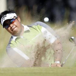 Thailand's Kiradech Aphibarnrat chips out of the bunker on the 14th during day four of the Saltire Energy Paul Lawrie Match Play at Murcar Links Golf Club, Aberdeen. PRESS ASSOCIATION Photo. Picture date: Sunday August 2, 2015. See PA story GOLF Murcar. Photo credit should read: Danny Lawson/PA Wire. RESTRICTIONS: Editorial use only. No commercial use. No false commercial association. No video emulation. No manipulation of images.