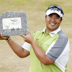 Kiradech Aphibarnrat after winning the Saltire Energy Paul Lawrie Match Play at Murcar Links Golf Club, Aberdeen. PRESS ASSOCIATION Photo. Picture date: Sunday August 2, 2015. See PA story GOLF Murcar. Photo credit should read: Danny Lawson/PA Wire. RESTRICTIONS: Editorial use only. No commercial use. No false commercial association. No video emulation. No manipulation of images.