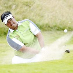 Kiradech Aphibarnrat chips out of bunker on the 16th during day four of the Saltire Energy Paul Lawrie Match Play at Murcar Links Golf Club, Aberdeen. PRESS ASSOCIATION Photo. Picture date: Sunday August 2, 2015. See PA story GOLF Murcar. Photo credit should read: Danny Lawson/PA Wire. RESTRICTIONS: Editorial use only. No commercial use. No false commercial association. No video emulation. No manipulation of images.