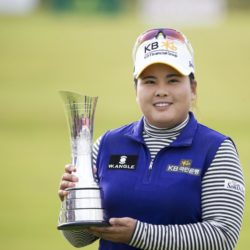 Korea's Inbee Park proudly shows off the trophy after her round of 65 today seen her win with a total of 13 under par during day four of the Ricoh Women's British Open at the Trump Turnberry Resort, South Ayrshire. PRESS ASSOCIATION Photo. Picture date: Sunday August 2, 2015. See PA story GOLF Women. Photo credit should read: Kenny Smith/PA Wire. RESTRICTIONS: Editorial use only. No commercial use. No false commercial association. No video emulation. No manipulation of images.
