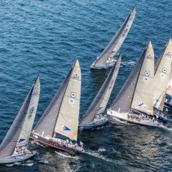 Fleet going up wind