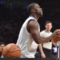 Feb 13, 2016; Toronto, Ontario, Canada; American comedian Kevin Hart participates in a three-point contest with Golden State Warriors forward Draymond Green (not pictured) during the NBA All Star Saturday Night at Air Canada Centre. Mandatory Credit: Bob Donnan-USA TODAY Sports
