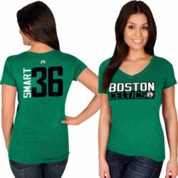 BOSTON CELTICS NAME & NUMBER V-NECK T-SHIRT