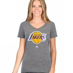 LOS ANGELES LAKERS ADIDAS CORE SHORT SLEEVE V-NECK T-SHIRT