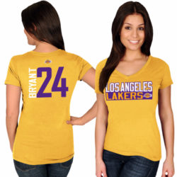 LOS ANGELES LAKERS NAME & NUMBER V-NECK T-SHIRT