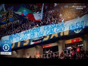 Striscione Inter per Cesare Maldini