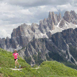Trail running in Dolomites, Italy.