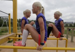 Estonia's olympic team female marathon runners Luik triplets during a training session in Tartu, Estonia