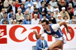 Italian athlete Pietro Mennea crosses th