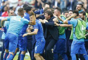 L'esultanza di Conte per la vittoria Italia vs Spagna
