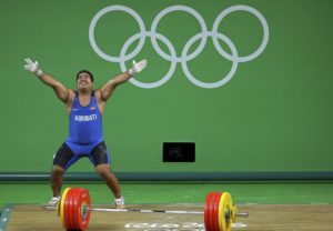 2016 Rio Olympics Weightlifting - Final - Men's 105kg - Riocentro - Pavilion 2 - Rio de Janeiro, Brazil - 15/08/2016. David Katoatau (KIR) of Kiribati reacts. REUTERS/Stoyan Nenov FOR EDITORIAL USE ONLY. NOT FOR SALE FOR MARKETING OR ADVERTISING CAMPAIGNS. - RTX2L1HG