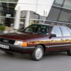 1989: first five-cylinder turbocharged direct-injection diesel engine in a production car: Audi presents another milestone in the automotive history in 1989 at the International Motor Show in Frankfurt am Main: the Audi 100 TDI. The first fivecylinder turbocharged diesel with direct injection for a production car produces 88 kW (120 hp) from a displacement of 2.5 liters and delivers 265 newton meters (195.45 lb-ft) of torque to the crankshaft. It is used in the C3 and in the C4 – from 1994 with an output of 103 kW (140 hp) and 290 newton meters (213.89 lb-ft) of torque.