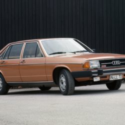 1976: first five-cylinder gasoline engine in the automotive industry: In August 1976, Audi introduces the second-generation Audi 100 (C2) in Luxembourg. For the first time, power is provided by a five-cylinder gasoline engine in a model from the brand with the four rings. The fuel-injected engine with a displacement of 2,144 cc develops 110 kW (136 hp) at 5,700 revolutions per minute. The maximum torque of 185 newton meters (136.45 lb-ft) is available at 4,200 rpm. The market launch of the Audi 100 (C2) follows in March 1977. From September 1979, the five-cylinder engine is also available in the Audi 200; from August 1982, it is fitted in the successor to the C2, the Audi 100 C3.
